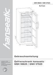 Gebrauchsanleitung Gefrierschrank hanseatic GNH 56625 / GNH ...