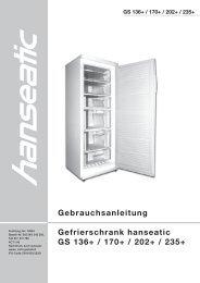 Gebrauchsanleitung Gefrierschrank hanseatic GS 136+ / 170+ / 202 ...