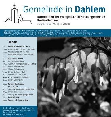 Mai | Juni 2011 (pdf) - Evangelischen Kirchengemeinde Berlin ...