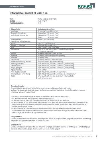 Gehwegplatten, Standard, 30 x 30 x 5 cm - Krautz Beton