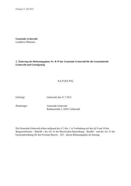 2 änderung Des Bebauungsplans Nr B 35 Der Gemeinde Grünwald
