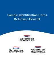 Sample Identification Cards - Geisinger Health Plan