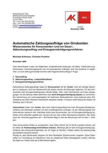 Automatische Zahlungsaufträge von Girokonten - Arbeiterkammer ...