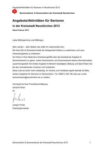Aktivitäten Senioren 2013 - Neunkirchen