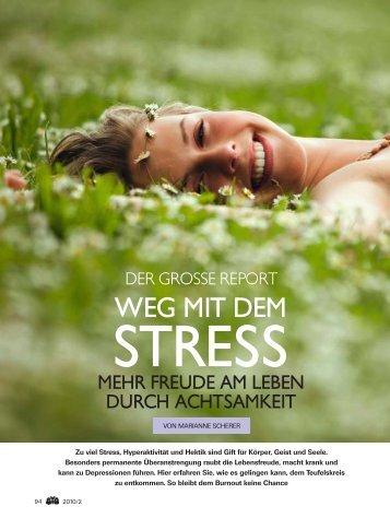 """Biomagazin 2/2010: """"Weg mit dem Stress"""" - MBSR-MBCT Verband"""