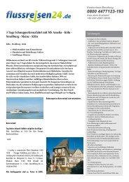 3 Tage Schnupperkreuzfahrt mit MS Amelia - Köln ... - Flussreisen 24