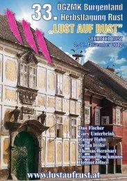 Veranstaltungs-Flyer zur 33. Herbsttagung Rust vom 08 - Lust auf Rust
