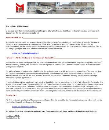 Newsletter 1/2012 - Moeller Chemie