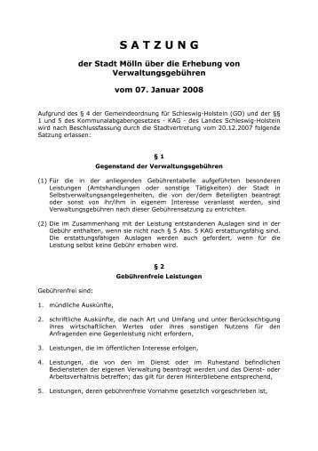 Satzung über die Erhebung von Verwaltungsgebühren - Stadt Mölln