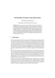On the Impact of Goals on Long-Living Systems - TU Ilmenau