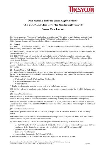 Non Exclusive Software License Agreement For Usb Cdcecm