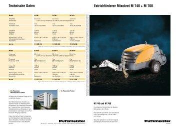 Estrichförderer Mixokret M 740 + M 760 Technische Daten