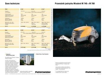 Przenośnik jastrychu Mixokret M 740 + M 760 Dane techniczne