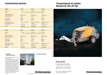 Transportadores de solados Mixokret M 740 y M 760 Características ...