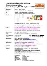 Ausschreibung - DSQV - Deutscher Squash Verband