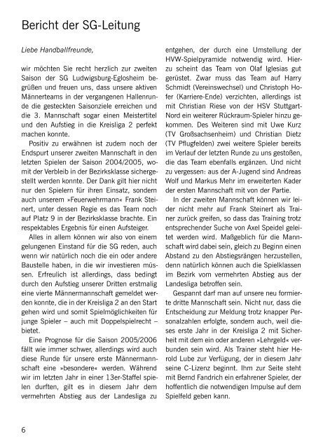 SKV Eglosheim, Handball, Saisonzeitschrift 2005/2006 - bei der SG ...