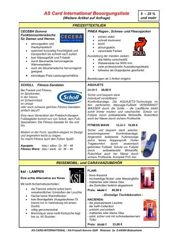 AS Card International Besorgungsliste - AS Freizeit Service