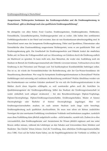 Ernährungsaufklärung in Deutschland 1 Ausgewiesene ...