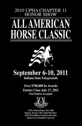 2011 Prize List - All American Horse Classic
