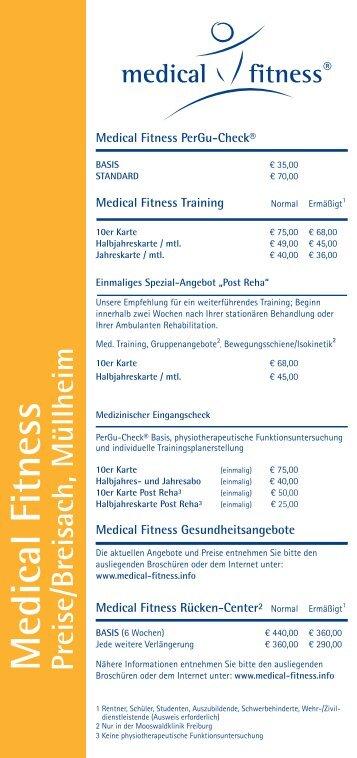 Medical Fitness Preise/Breisach, Müllheim Medical ... - Mooswaldklinik