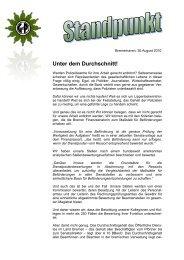 Standpunkt der GdP - Kreisgruppe Bremerhaven