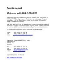 Agents manual Welcome to KUHNLE-TOURS!