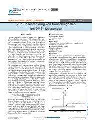 Zur Einschränkung von Rauschsignalen bei DMS - Messungen