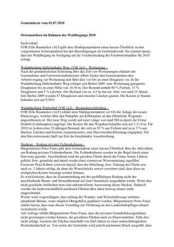 Gemeinderat vom 03.07.2010 Ortseinsichten im ... - Frammersbach