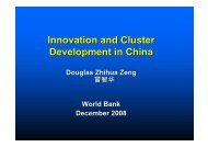 Innovation and Cluster Development in China - International ...