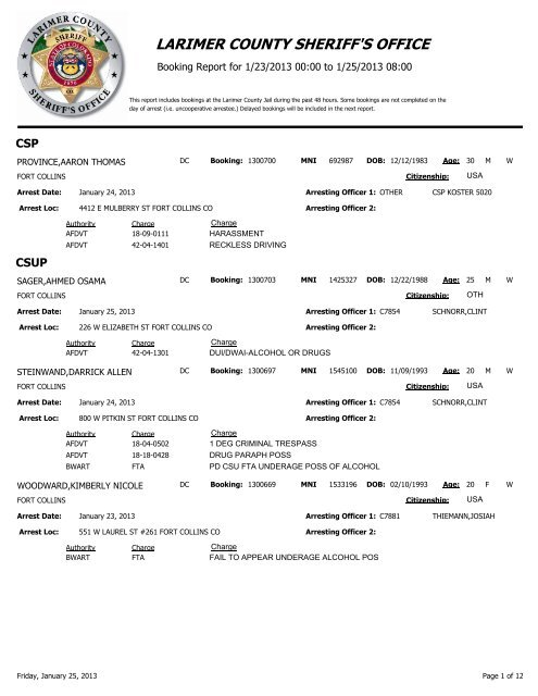 Booking Report - Larimer County Sheriff's Office