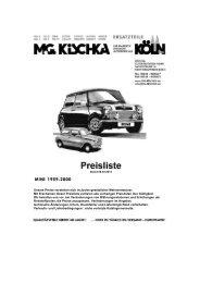 Preisliste Mini - Kischka