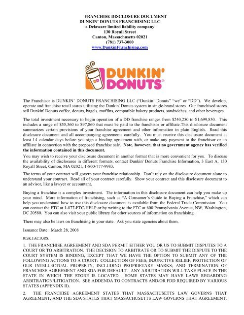 FRANCHISE DISCLOSURE DOCUMENT DUNKIN     - Blue Maumau