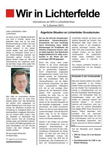"""Wir in Lichterfelde"" Nr. 2, Sommer 2007 (PDF - SPD Lichterfelde-West"