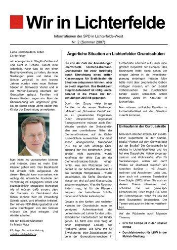 """Wir in Lichterfelde"" Nr. 2, Sommer 2007 (PDF - SPD Lichterfelde-West"
