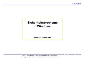 Sicherheitsprobleme in Windows - Prof. Dr. Heinz-Michael Winkels