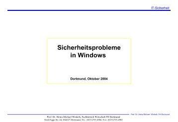 Sicherheitsprobleme in Windows - Prof. Dr. Heinz-Michael Winkels