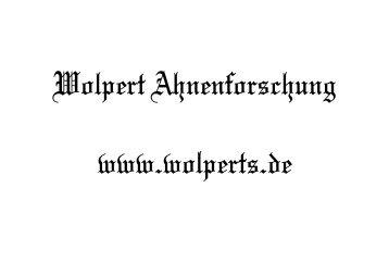 Wolpert Ahnenforschung www.wolperts.de