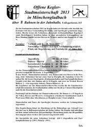 Ausschreibung Offene Kegler-Stadtmeisterschaft 2013