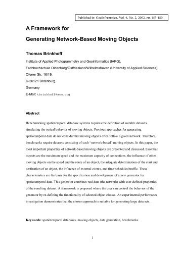 A Framework for Generating Network-Based Moving ... - CiteSeerX
