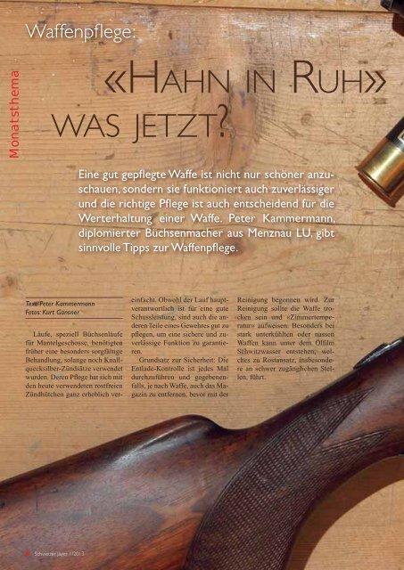 Schweizer Jäger, Ausgabe Januar 2013