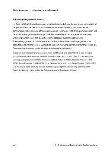 maria montessori montessori landesverband bayern ev - Maria Montessori Lebenslauf