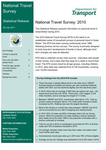 National Travel Survey 2010 - Department for Transport