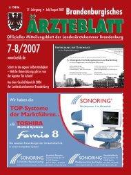 Brandenburgisches Ärzteblatt 7-8/2007 - Landesärztekammer ...