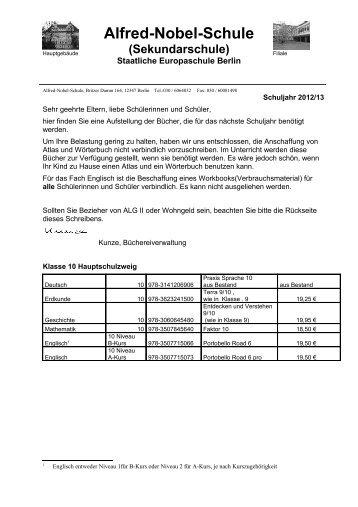 Sekundarschule - Alfred-Nobel-Schule