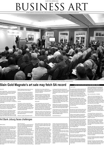 Slain Gold Magnate's art sale may fetch SA record - South African ...