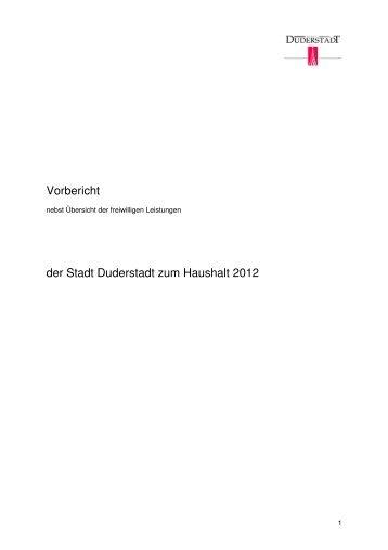 Vorbericht zum Haushalt 2012