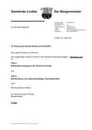 2011.05.25 16. Sitzung Gemeinderat - Nachtrag ... - Gemeinde Lindlar