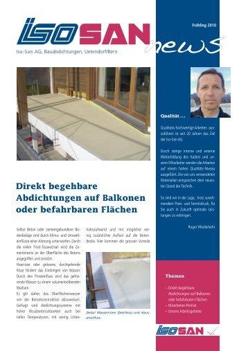Direkt begehbare Abdichtungen auf Balkonen oder ... - Iso-San AG