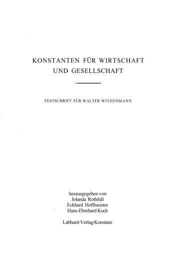KONSTANTEN FÜR WIRTSCHAFT UND GESELLSCHAFT