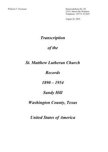 Kirchenbuch St. Matthew Sandy Hill, TX - Amerikanetz